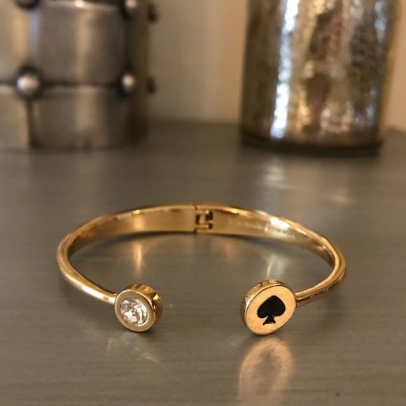 kate spade Jewelry - Kate Spade Gold Black Diamond Cuff Bracelet